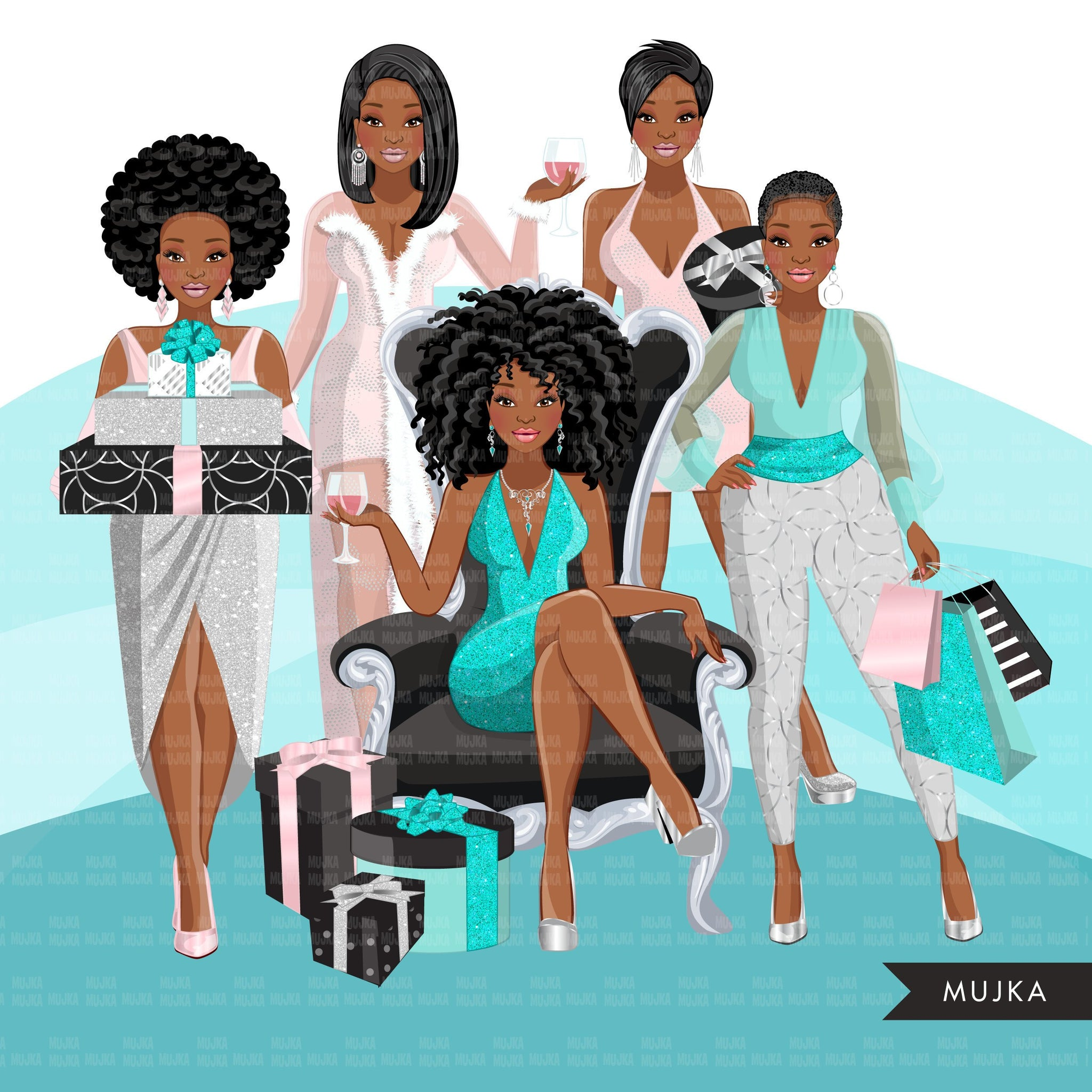 Fashion Clipart, pastel glam Christmas party, black woman, friends, sisterhood Sublimation designs for Cricut & Cameo, commercial use PNG