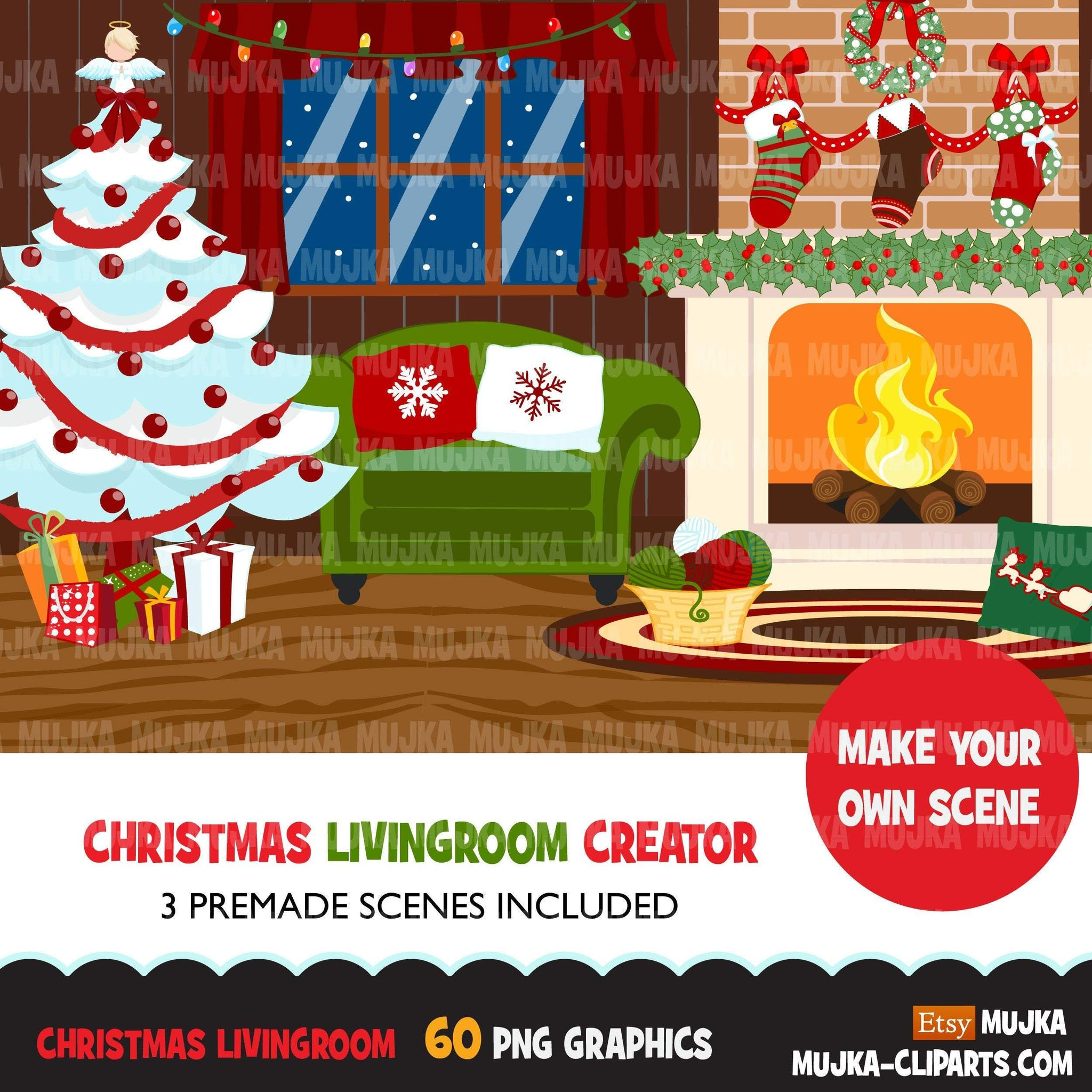 Christmas Clipart, Christmas living room creator, Christmas trees, fireplace, giftboxes png clip art, commercial use sublimation graphics