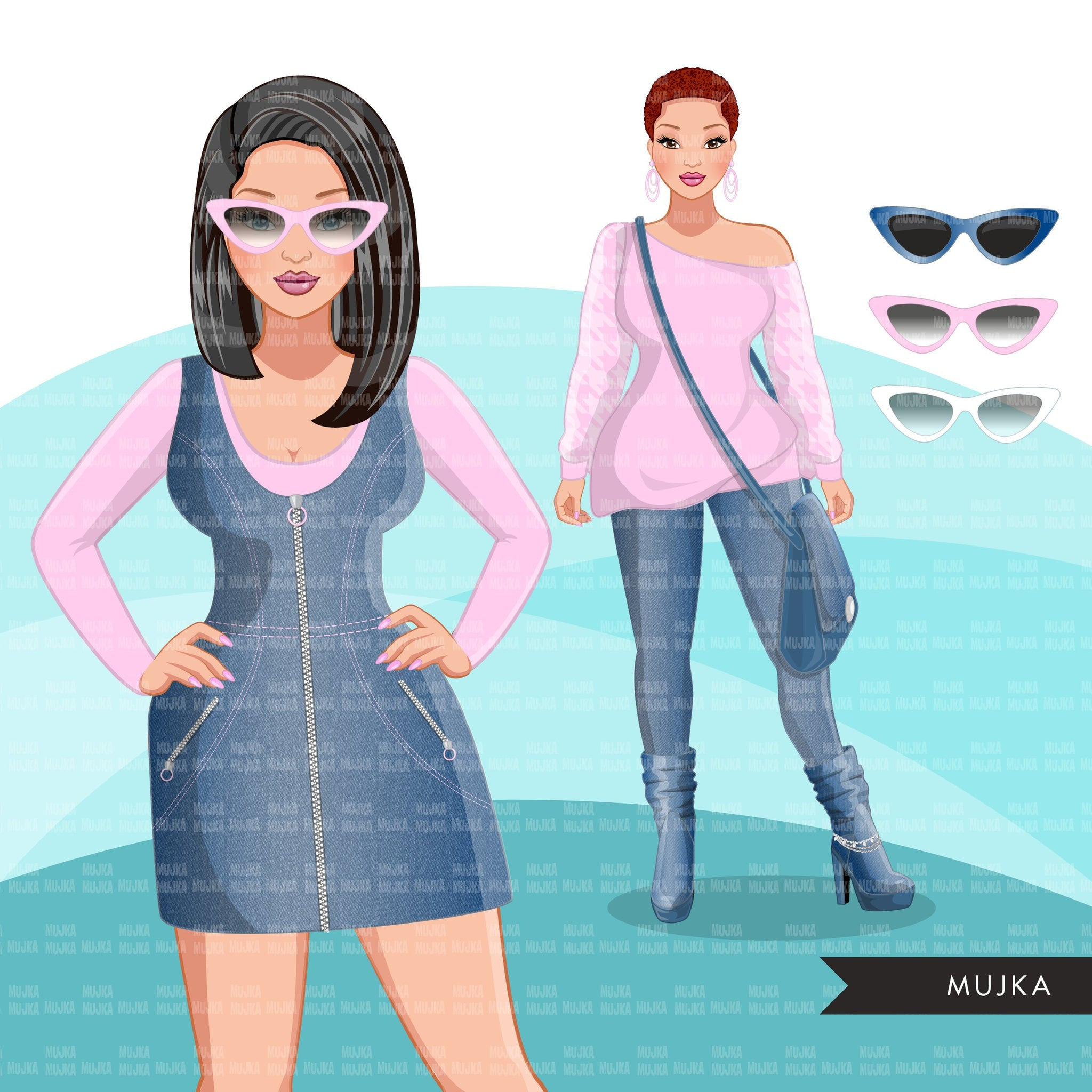 Fashion Clipart, woman graphic, blue pink, sisters, friends, sisterhood Sublimation designs for Cricut & Cameo, commercial use PNG