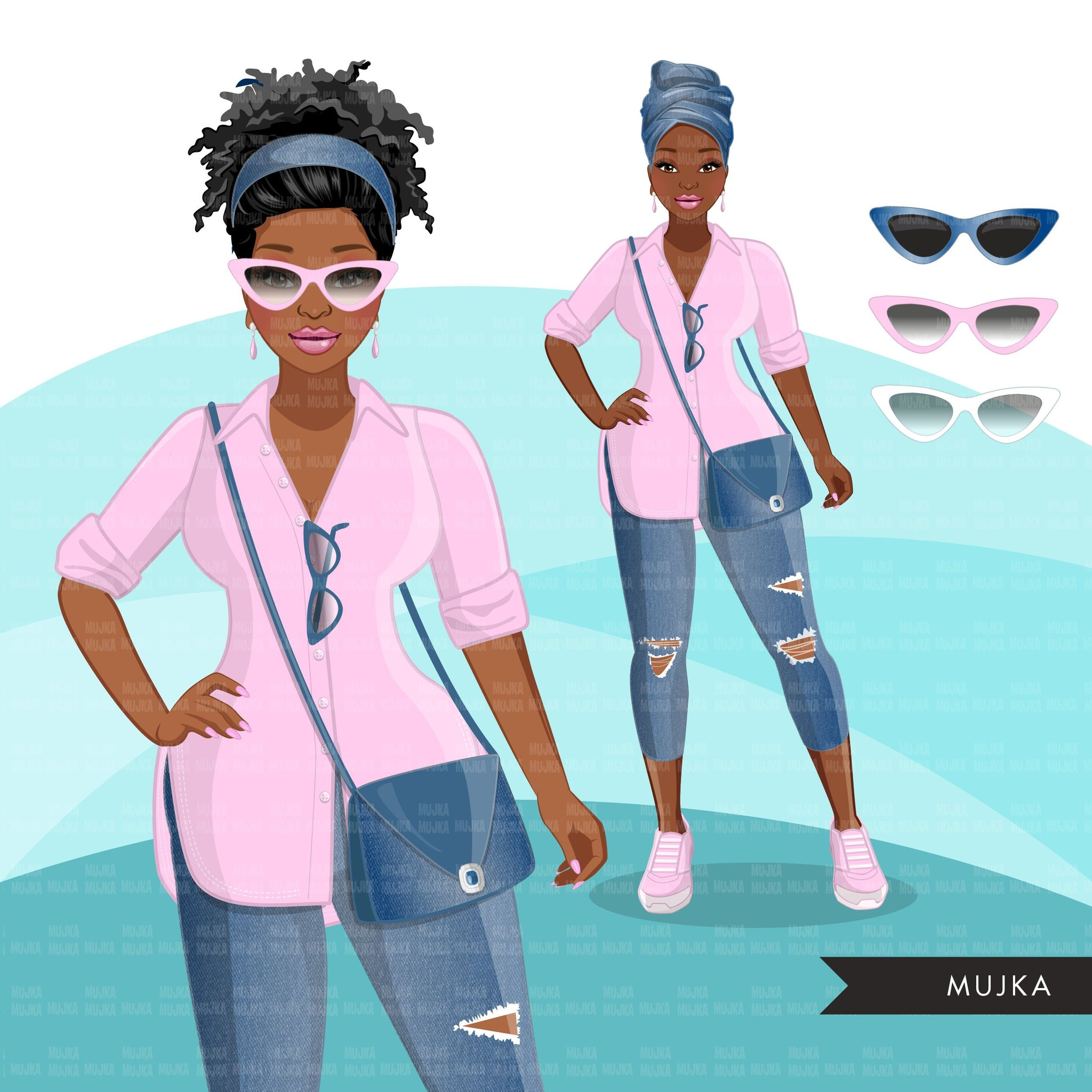 Fashion Clipart, Black woman graphics, blue jeans pink, sisters, friends, sisterhood Sublimation designs for Cricut & Cameo, commercial PNG