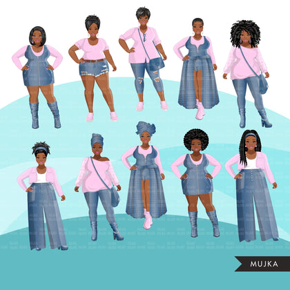 Fashion Clipart, Curvy Black woman graphics, blue jeans pink, friends, sisterhood Sublimation designs for Cricut & Cameo, commercial PNG