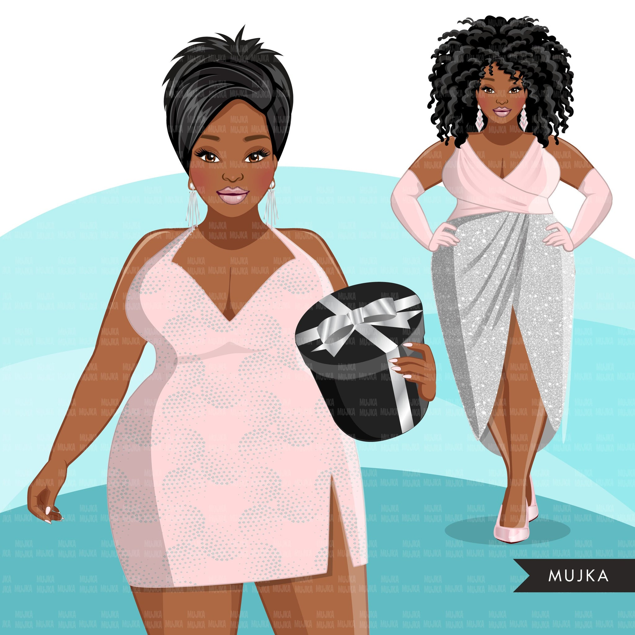 Fashion Clipart, pastel glam Christmas party, curvy black woman, friends, sisterhood Sublimation for Cricut & Cameo, commercial use PNG