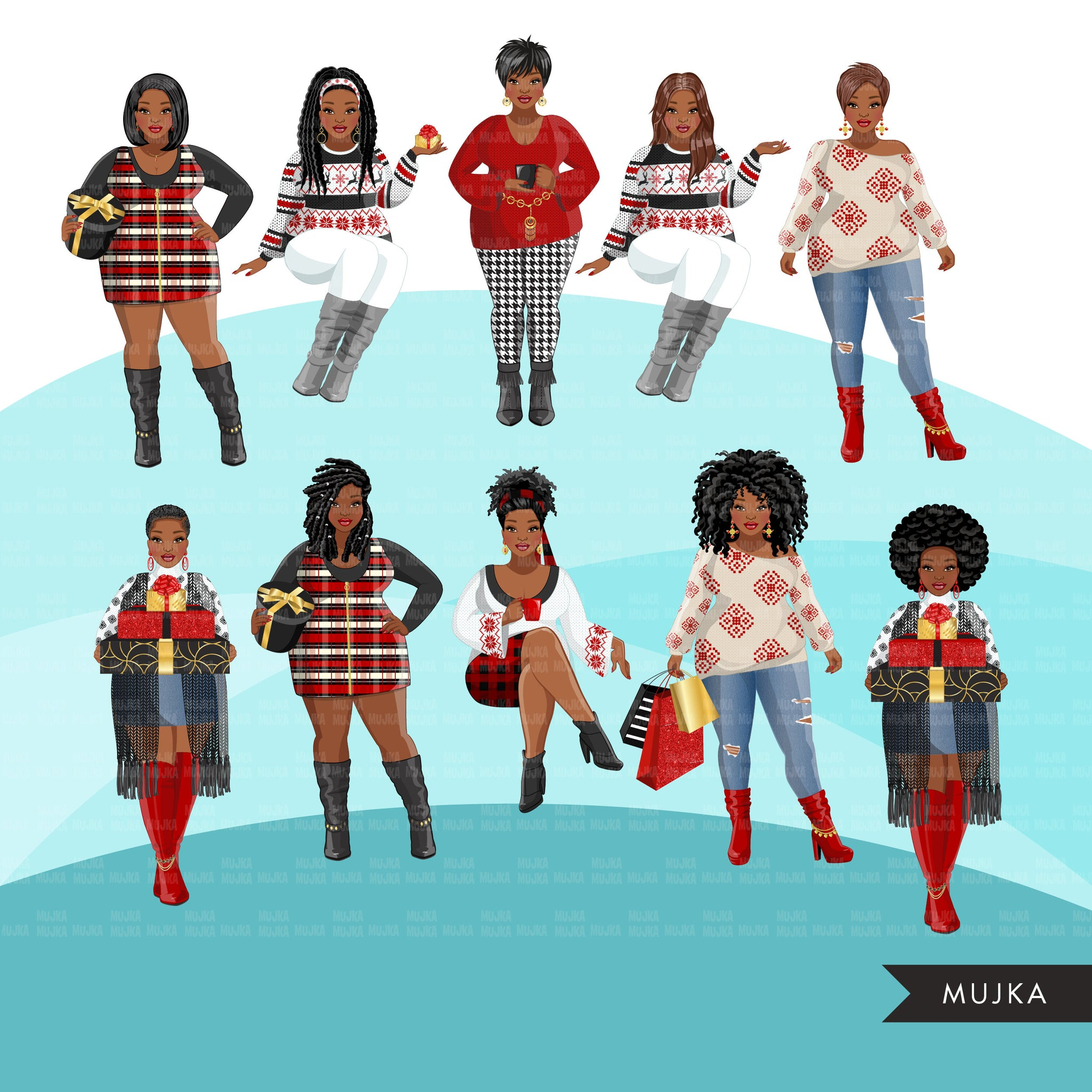 Fashion Clipart, Christmas party, curvy black woman sisters, friends, sisterhood Sublimation designs for Cricut & Cameo, commercial use PNG
