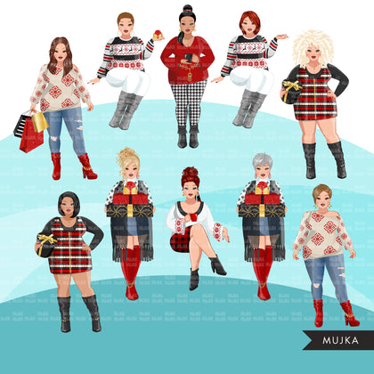 Fashion Clipart, Christmas party, curvy woman, sisters, friends, sisterhood Sublimation designs for Cricut & Cameo, commercial use PNG