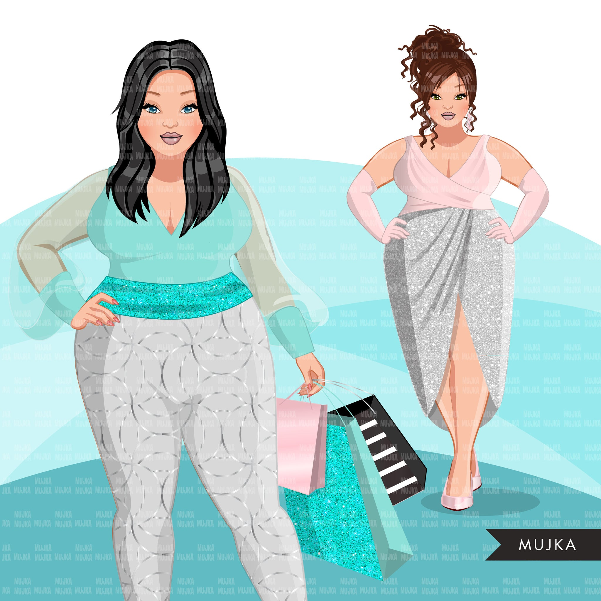 Fashion Clipart, pastel glam Christmas party, curvy sisters, friends, sisterhood Sublimation designs for Cricut & Cameo, commercial use PNG