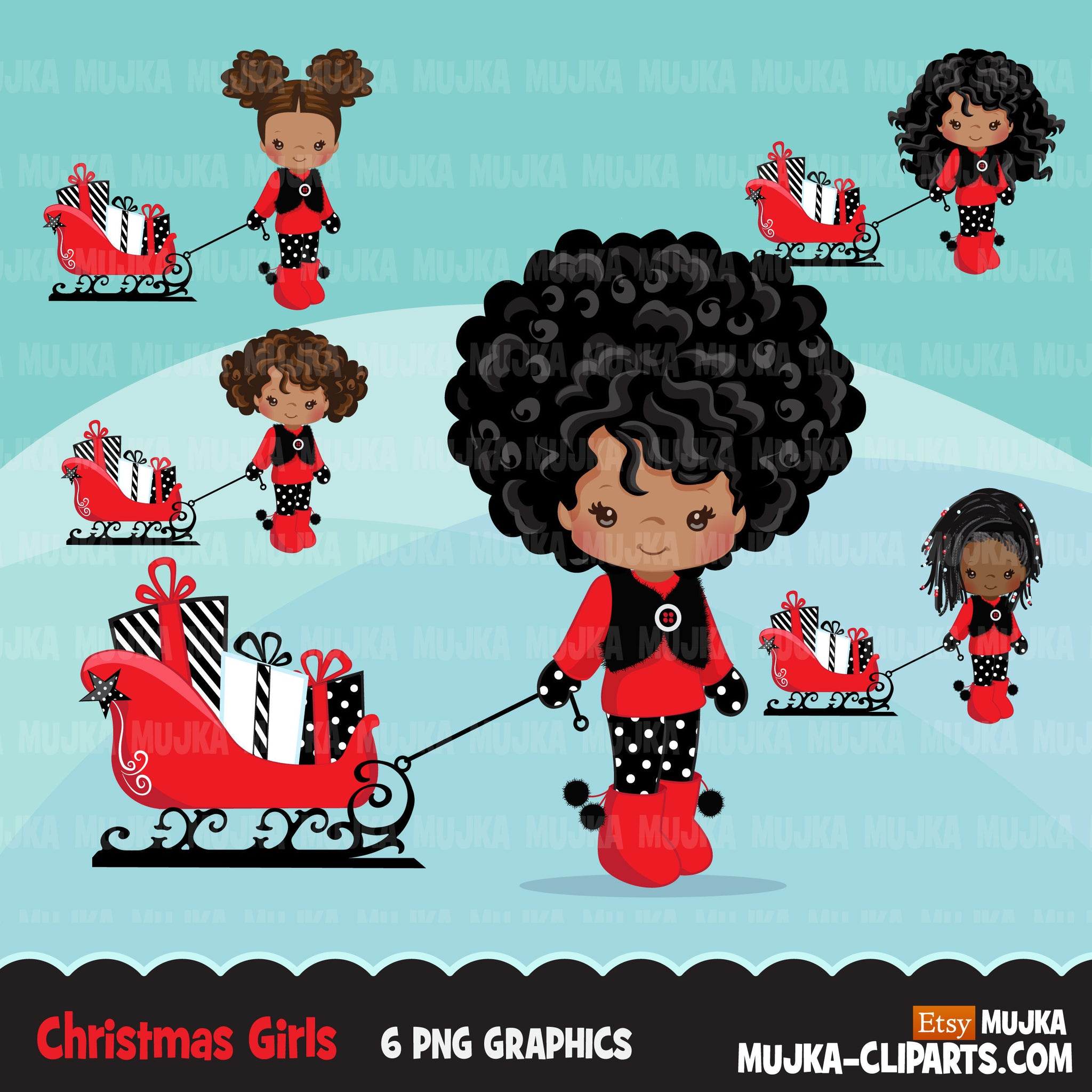 Christmas Clipart, Black girl with Sled, Christmas kids, Noel graphics, Holiday characters, png sublimation clip art