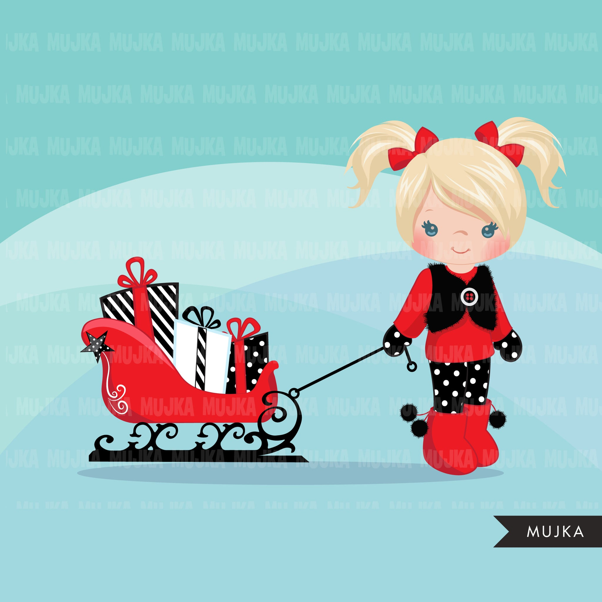 Christmas Clipart, girl with Sled, Christmas kids, Noel graphics, Holiday characters, png sublimation clip art
