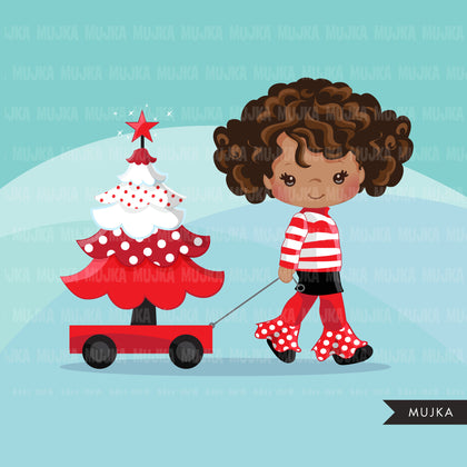 Christmas Clipart, black girl with Christmas tree, Christmas kids, polka dots, Noel graphics, Holiday characters, png sublimation clip art