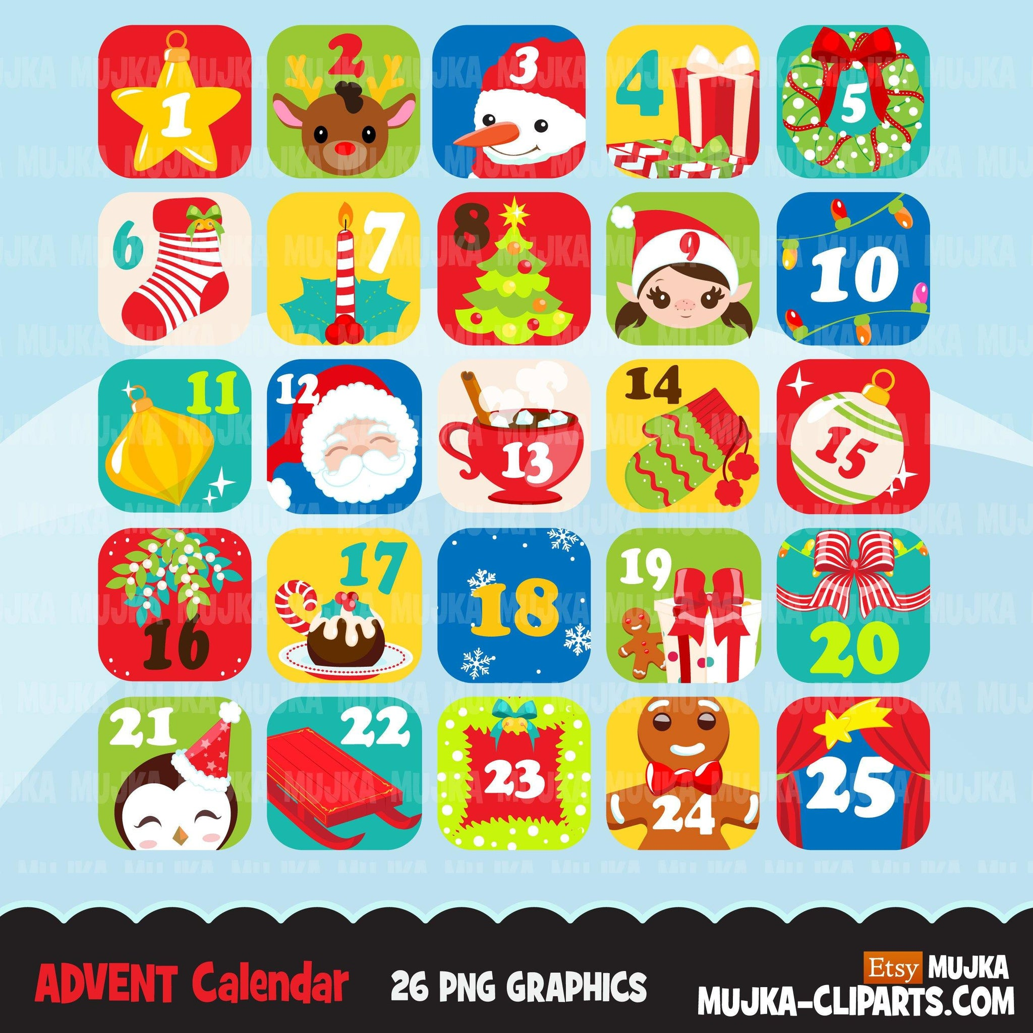 Christmas Clipart, Advent Calendar graphics, Noel graphics, png sublimation clip art