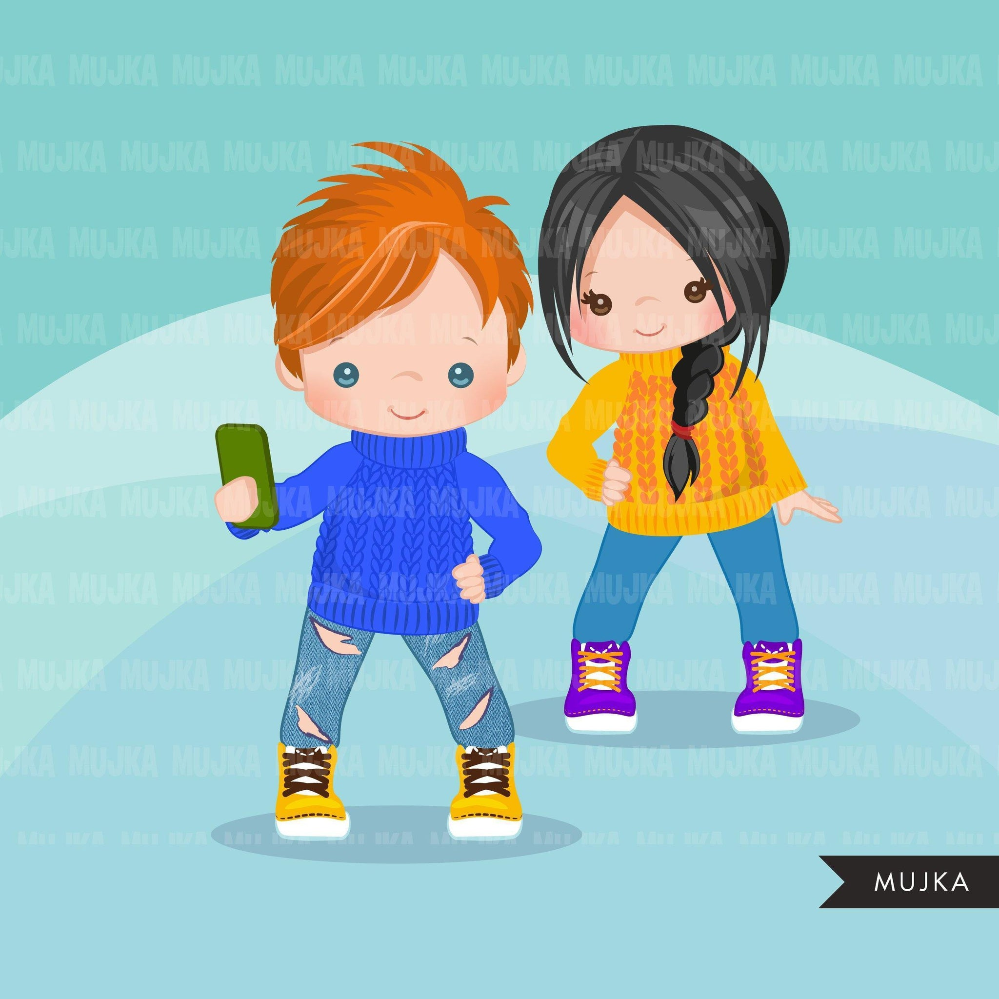 Selfie Clipart, winter selfie graphics, kids, kids with cellphone, Christmas graphics, Holiday characters, png sublimation clip art