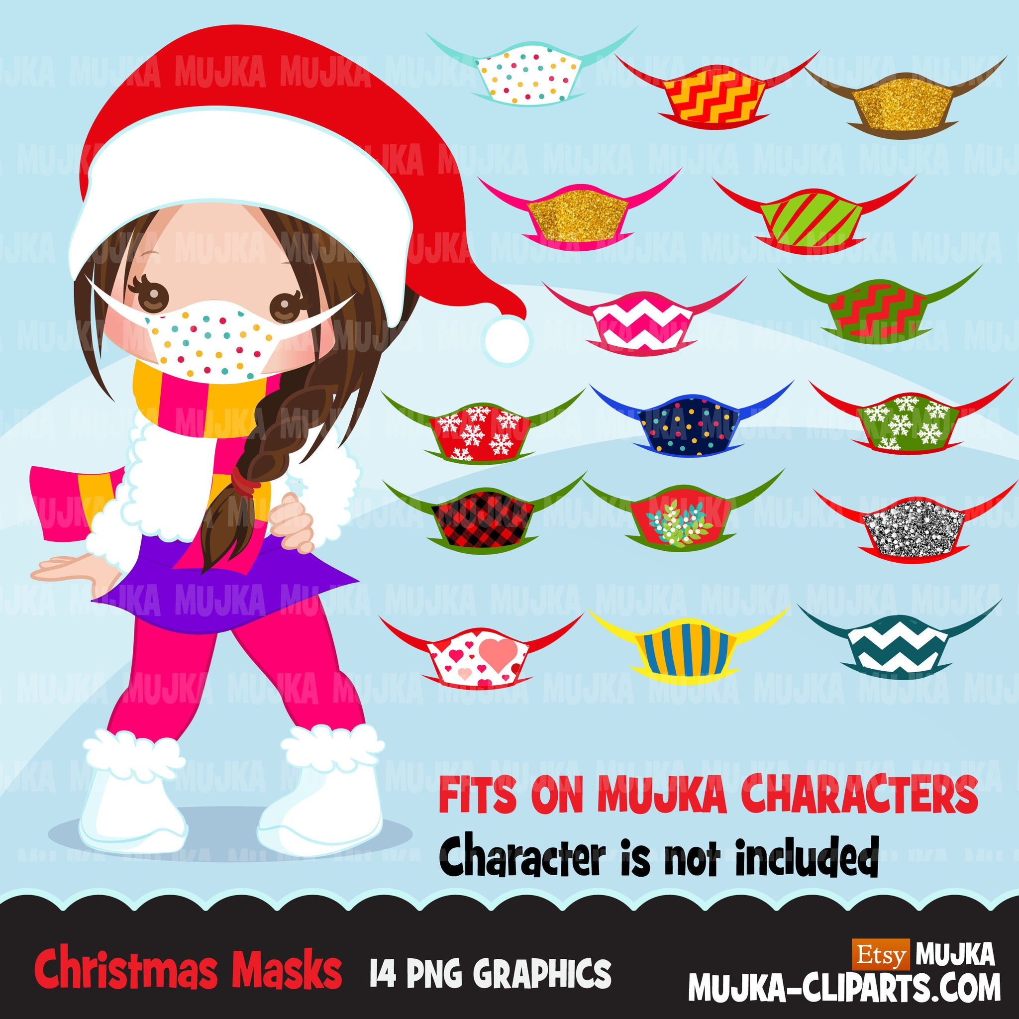 Christmas face masks clipart, Christmas graphics, covid Christmas, face mask Noel graphics, Holiday characters, png sublimation clip art
