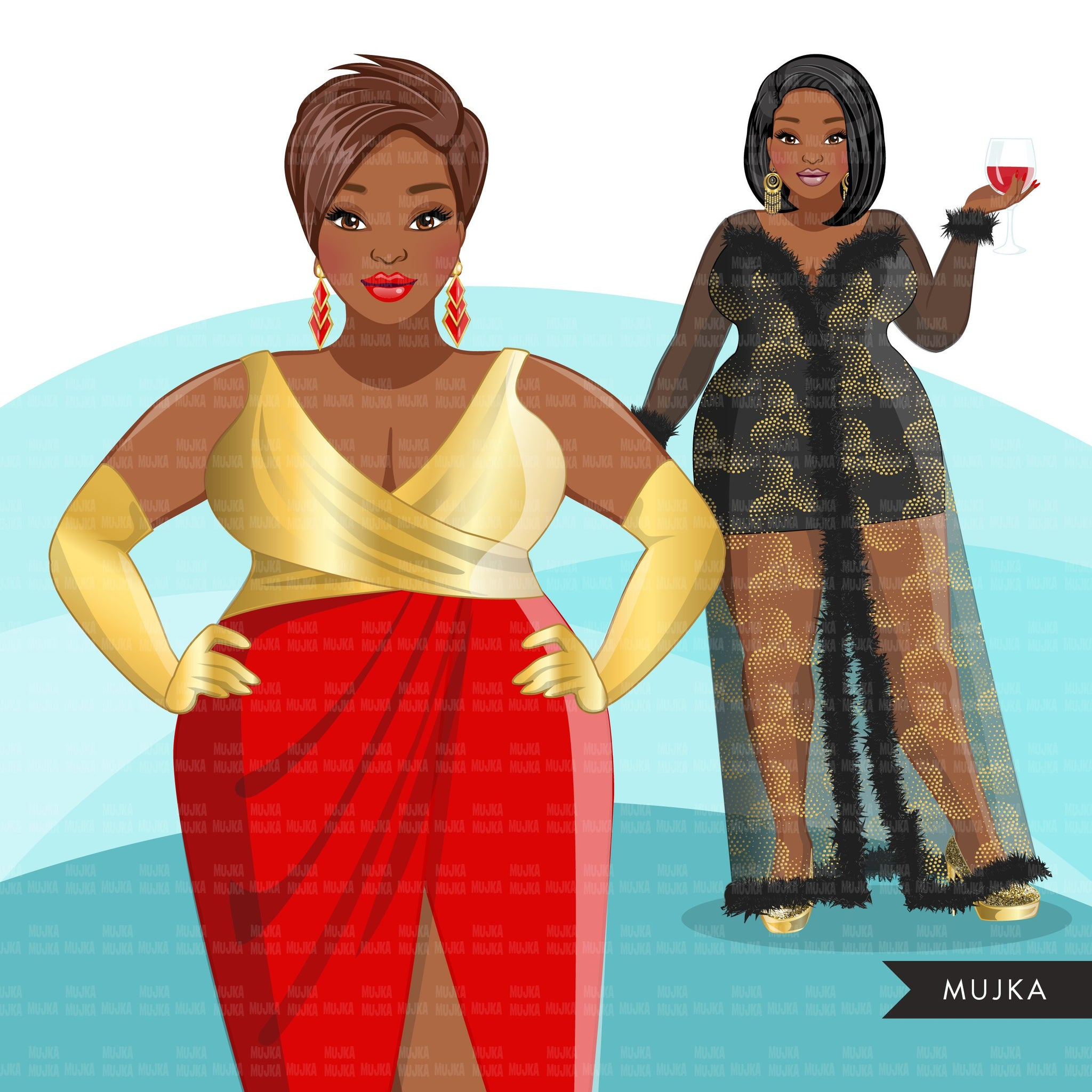 Fashion Clipart, Christmas party, curvy black woman, sisters, friends, sisterhood Sublimation designs for Cricut & Cameo, commercial use PNG
