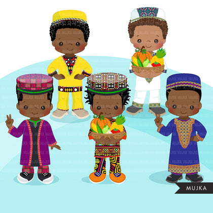 Kwanzaa Clipart, African culture, African holiday, heritage graphics, Kwanzaa black boys png sublimation clip art