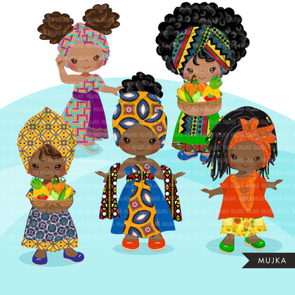 Kwanzaa Clipart, African culture, African holiday, heritage graphics, Kwanzaa black girls png sublimation clip art