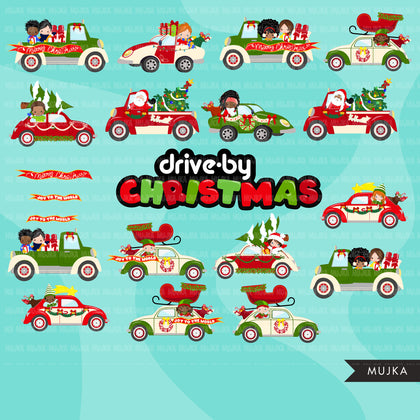 Drive-by Christmas Party parade clipart with kids, quarantine party, drive through Christmas party truck, black santa, PNG clip art