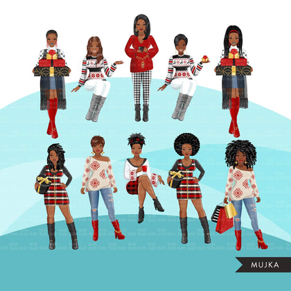 Fashion Clipart, Christmas party, black woman sisters, friends, sisterhood Sublimation designs for Cricut & Cameo, commercial use PNG