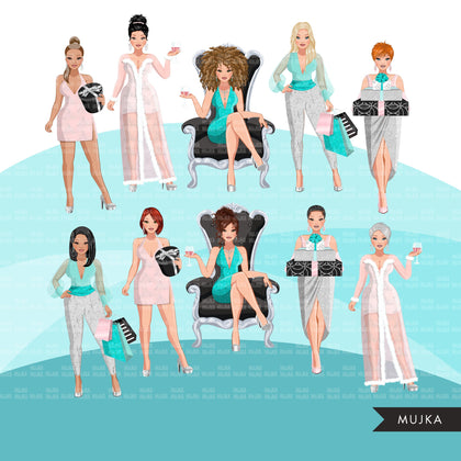 Fashion Clipart, pastel glam Christmas party, sisters, friends, sisterhood Sublimation designs for Cricut & Cameo, commercial use PNG