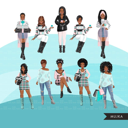 Fashion Clipart, pastel causal Christmas party, black woman, friends, sisterhood Sublimation designs for Cricut & Cameo, commercial use PNG