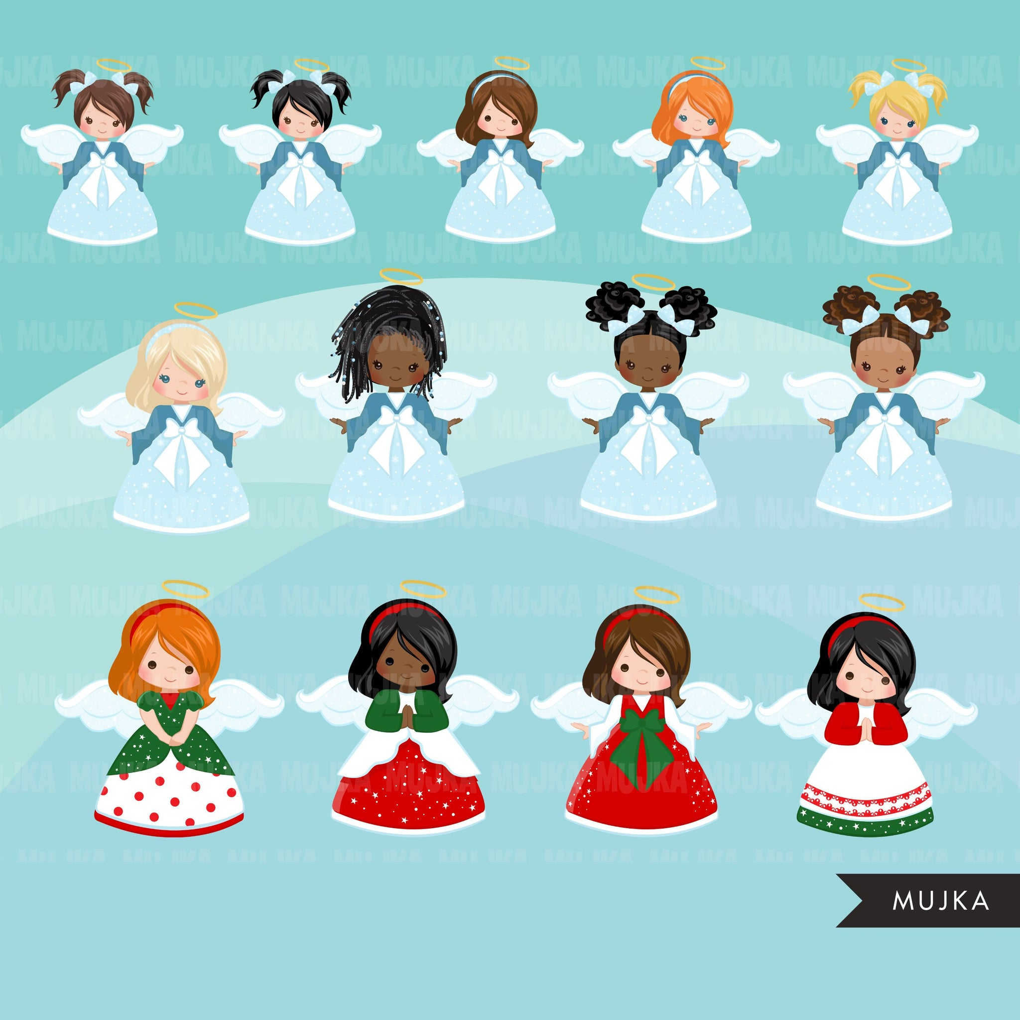 Christmas Angels clipart bundle, Noel Illustrations, black girl, afro angel, commercial use graphics, Png sublimation clip art