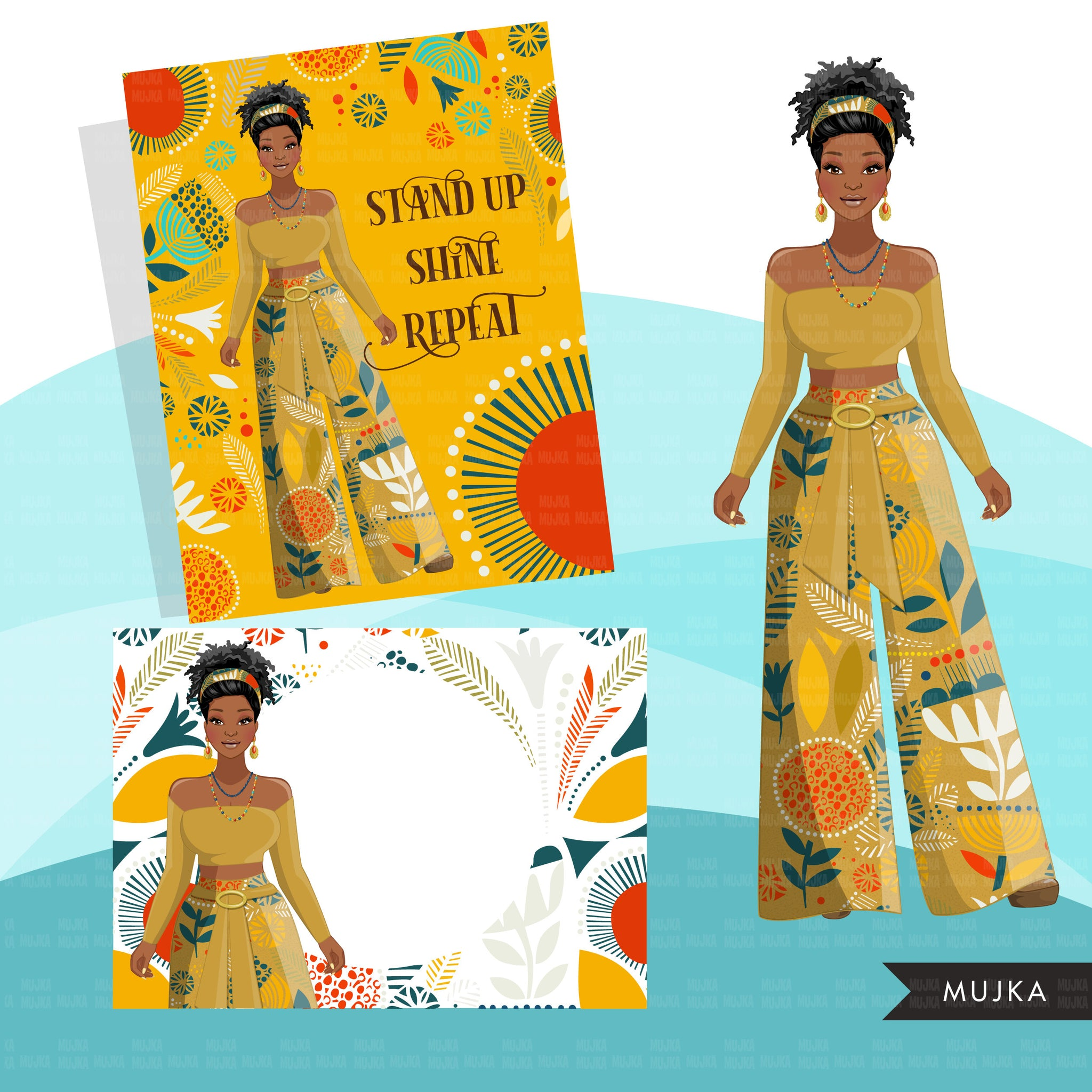 Fashion Clipart, black woman, yellow floral Sublimation design kit for Cricut & Cameo, commercial use PNG