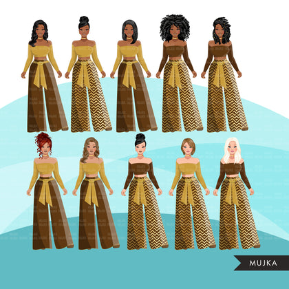Fashion Clipart, Retro brown and gold, black woman, sisters, friends, sisterhood Sublimation designs for Cricut & Cameo, commercial use PNG