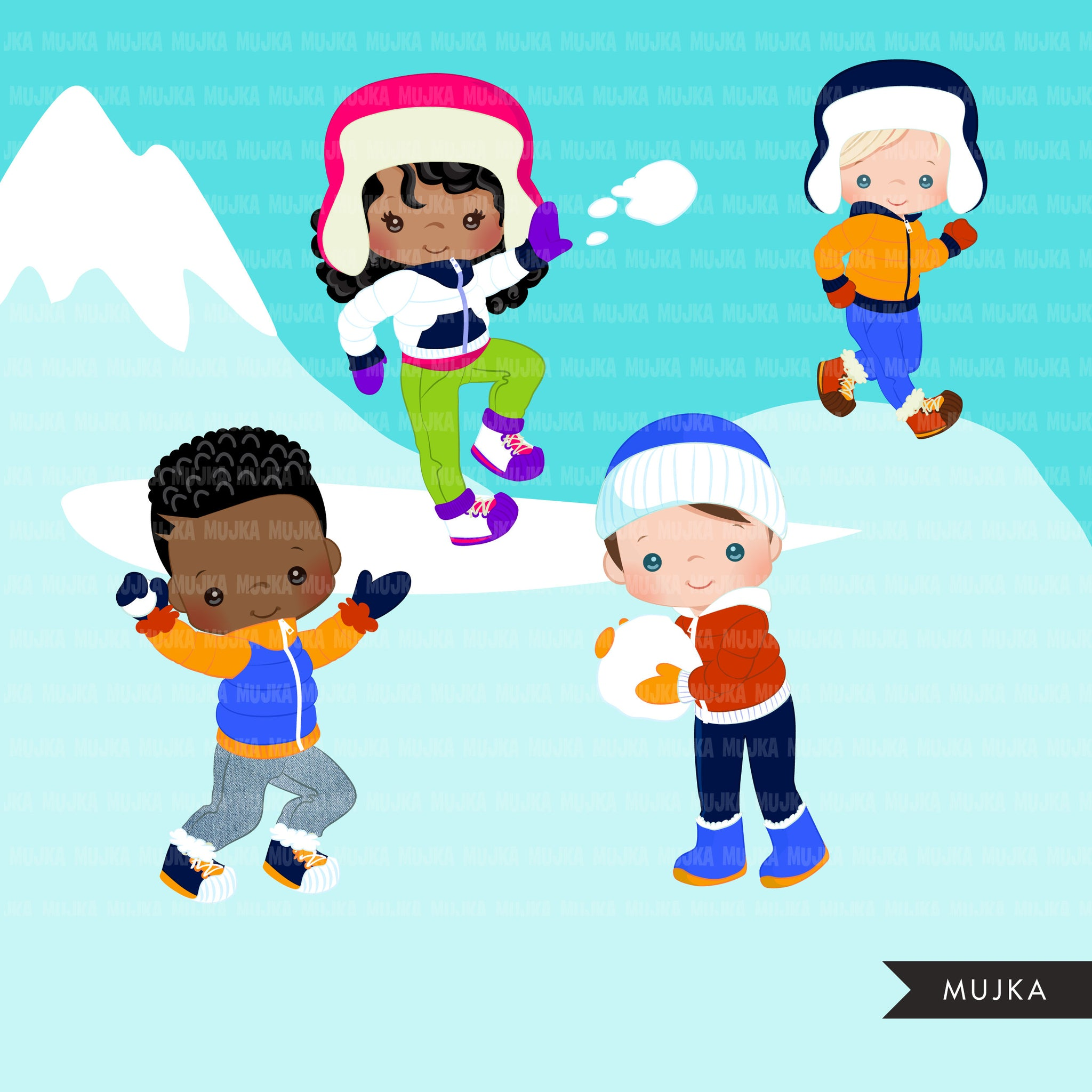 Snowball fight Clipart, Winter graphics, outdoors, snowman, snow backdrop, png clip art, commercial use sublimation graphics