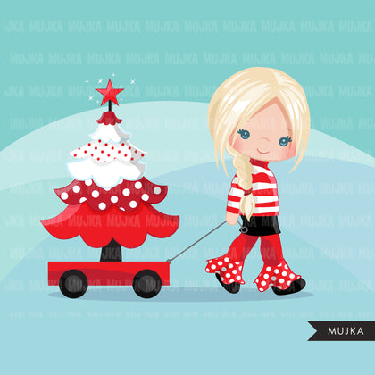 Christmas Clipart, girl with Christmas tree, Christmas kids, polka dots, Noel graphics, Holiday characters, png sublimation clip art