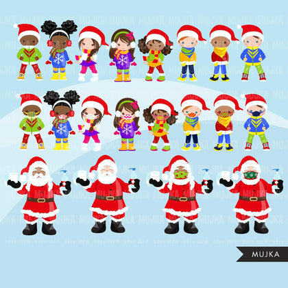 Santa Clipart, Christmas graphics, covid Christmas, kids with face mask Noel graphics, Holiday characters, png sublimation clip art