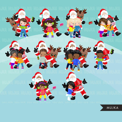 Santa selfie Clipart, Christmas selfie graphics, kids, Santa with cellphone, Noel graphics, Holiday characters, png sublimation clip art