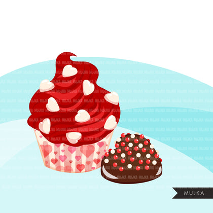 Valentine sweets clipart, donuts, truffles, chcocolate, cookies, Valentine's Day cookies, png clip art