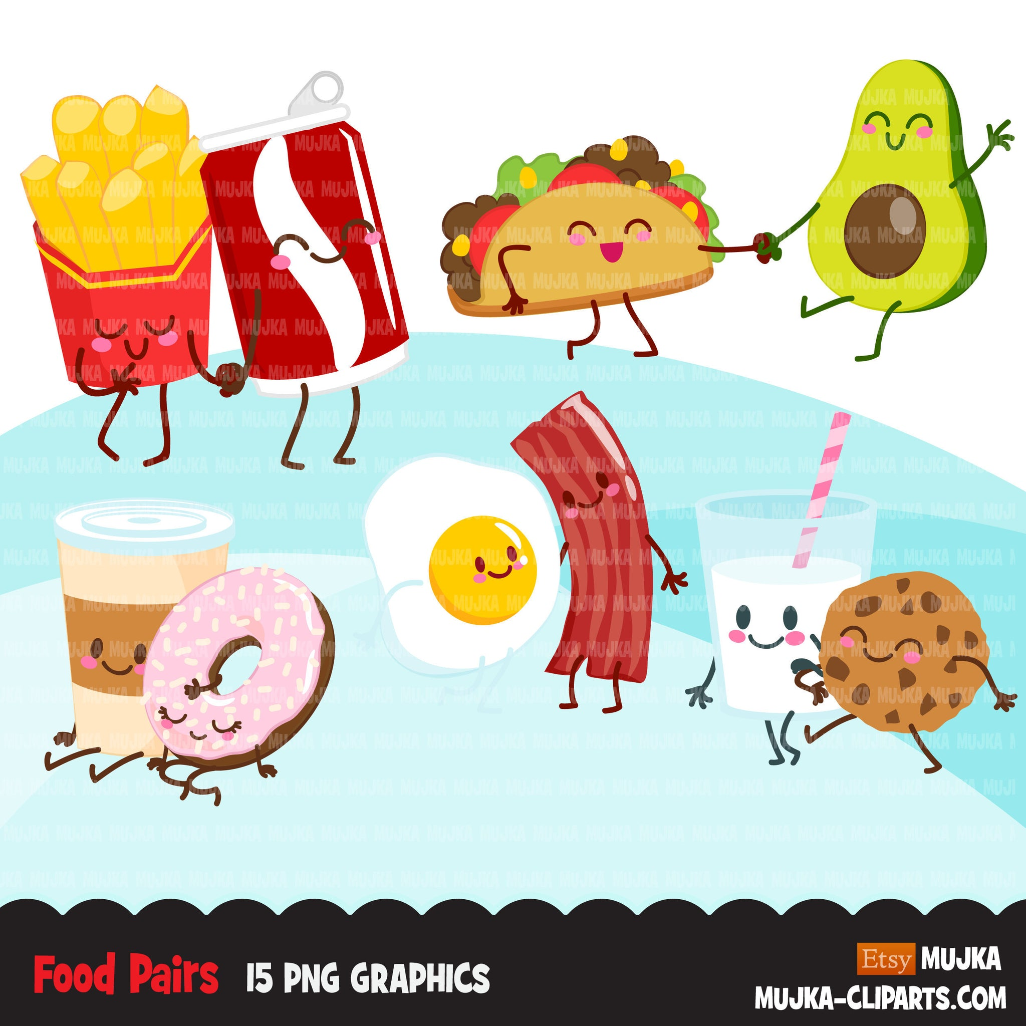 Food pairs clipart, Food couples, egg and bacon, milk and cookies Valentine's Day couples PNG clip art