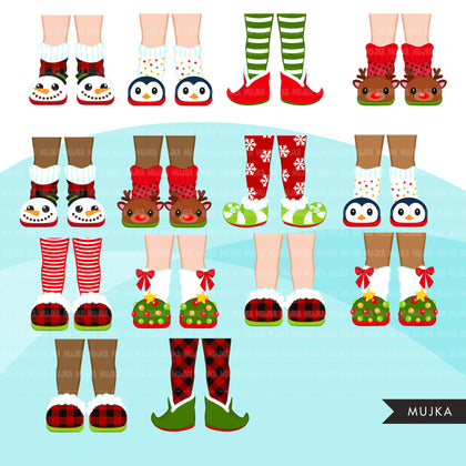 Christmas slippers clipart, Christmas graphics, woolly socks, elf slippers, Noel graphics, Christmas legs, png sublimation clip art