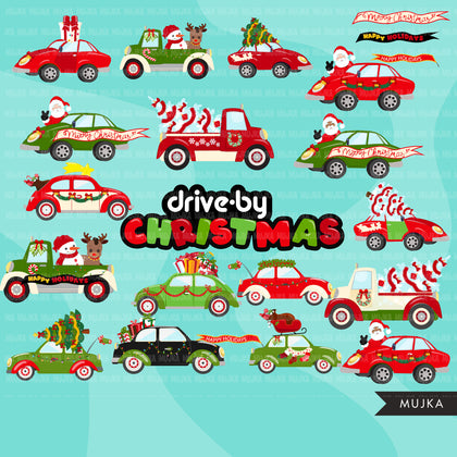 Drive-by Christmas Party parade clipart, quarantine party, drive through Christmas party truck, car graphics, black santa, PNG clip art