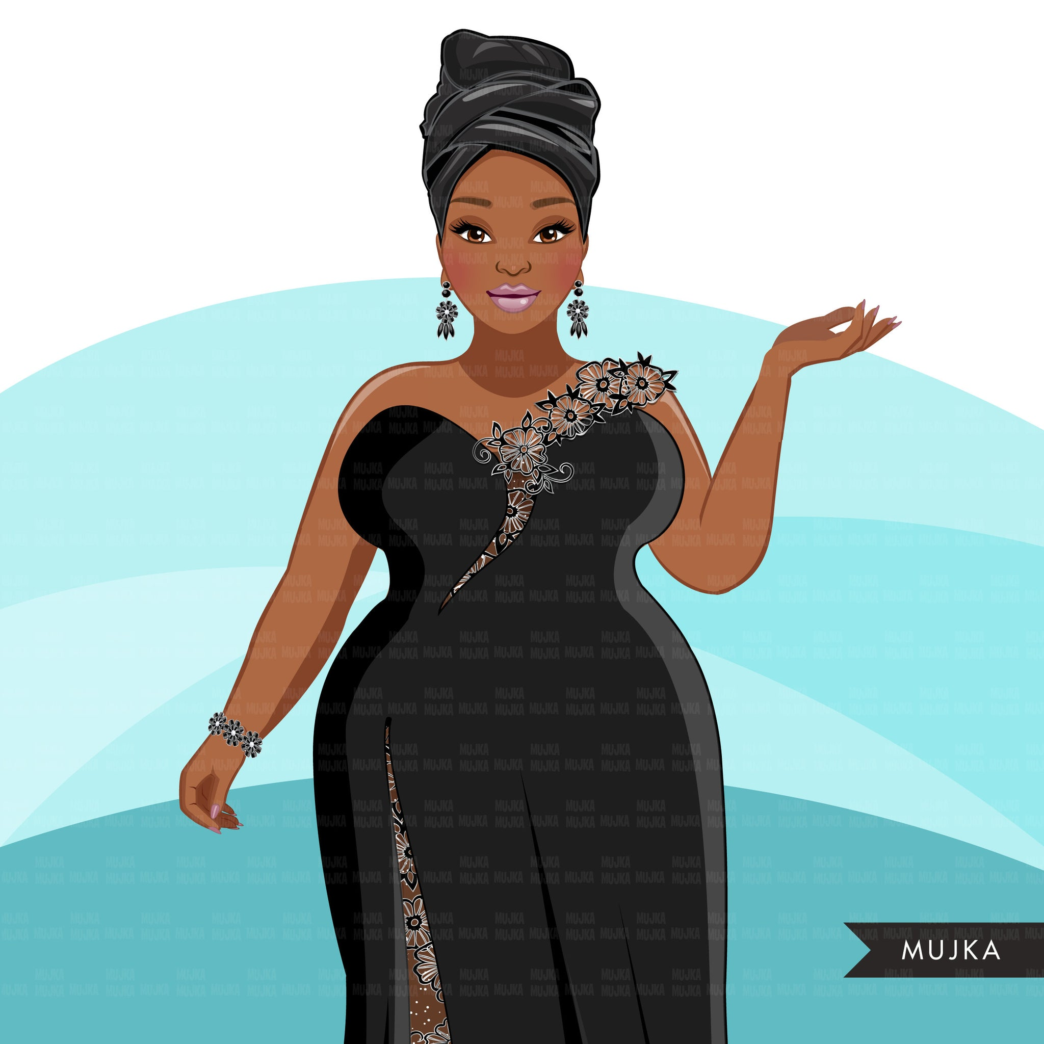 Fashion Clipart, Black woman evening gown, sisters, friends, Sublimation designs for Cricut & Cameo, commercial use PNG