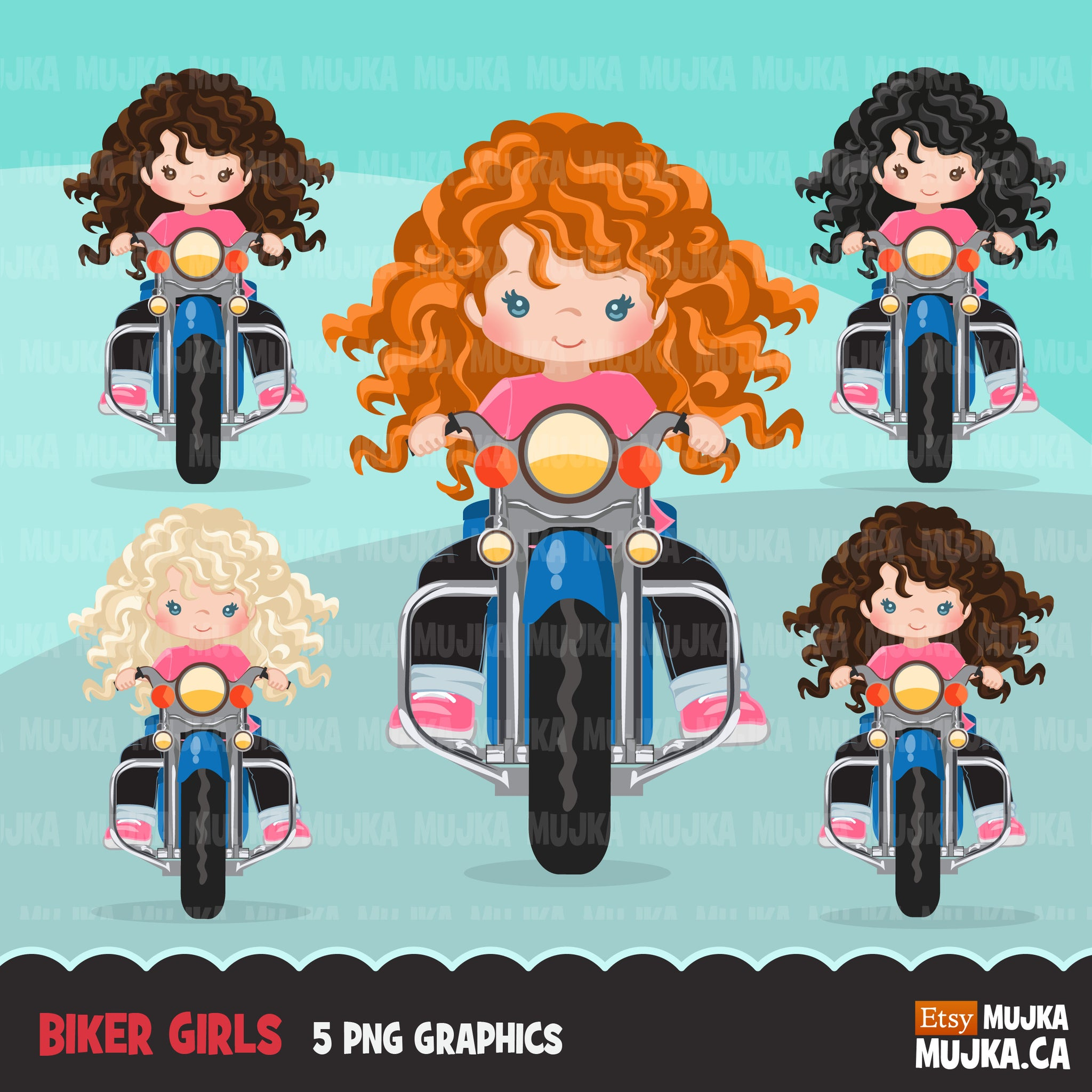 Bikers Clipart, Biking kids, harley bikers, kids riding, black girl, boy motorcycle outdoor commercial use graphics, png clip art