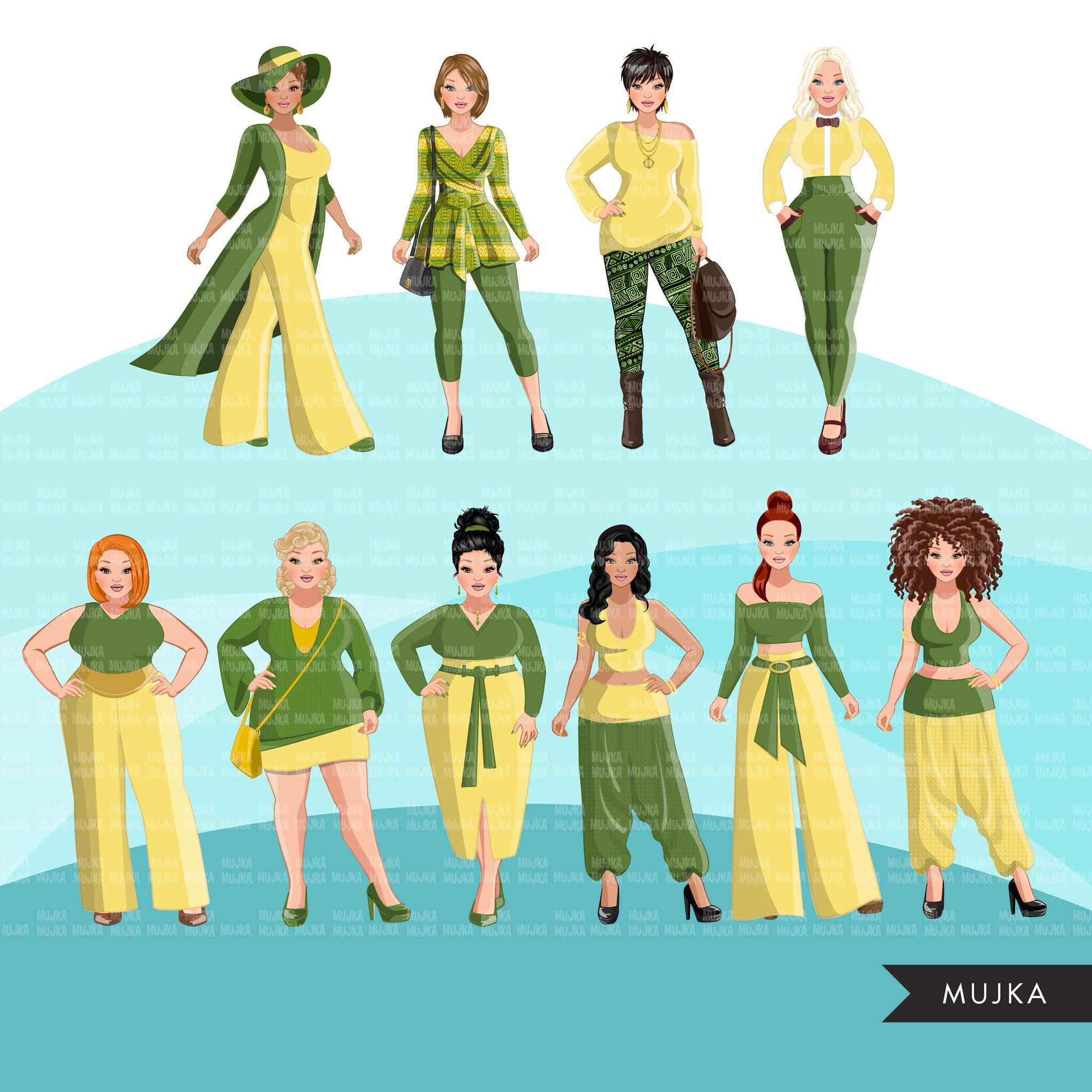 Fashion Clipart, woman graphic, green yellow dress, sisters, friends, sisterhood Sublimation designs for Cricut & Cameo, commercial use PNG