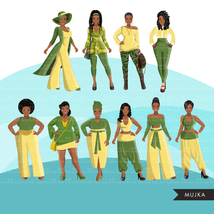 Fashion Clipart, Black woman graphics, green yellow dress, sisters, friends, Sublimation designs for Cricut & Cameo, commercial use PNG