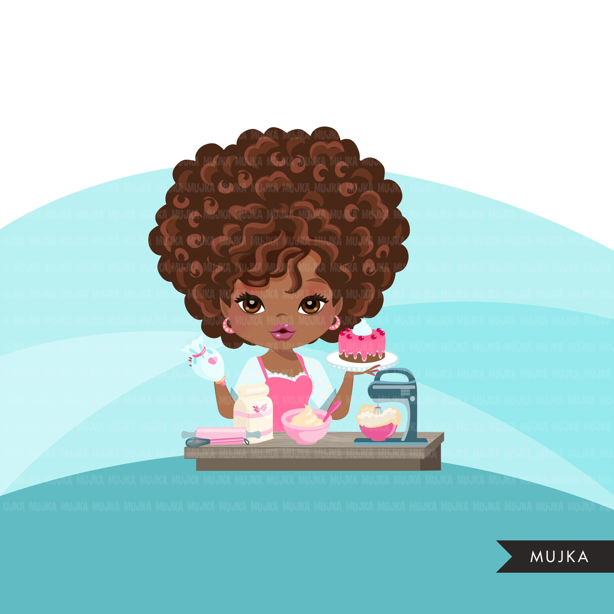 Afro Black Woman baker avatar clipart with baking supplies, print and cut, baking black girl clip art