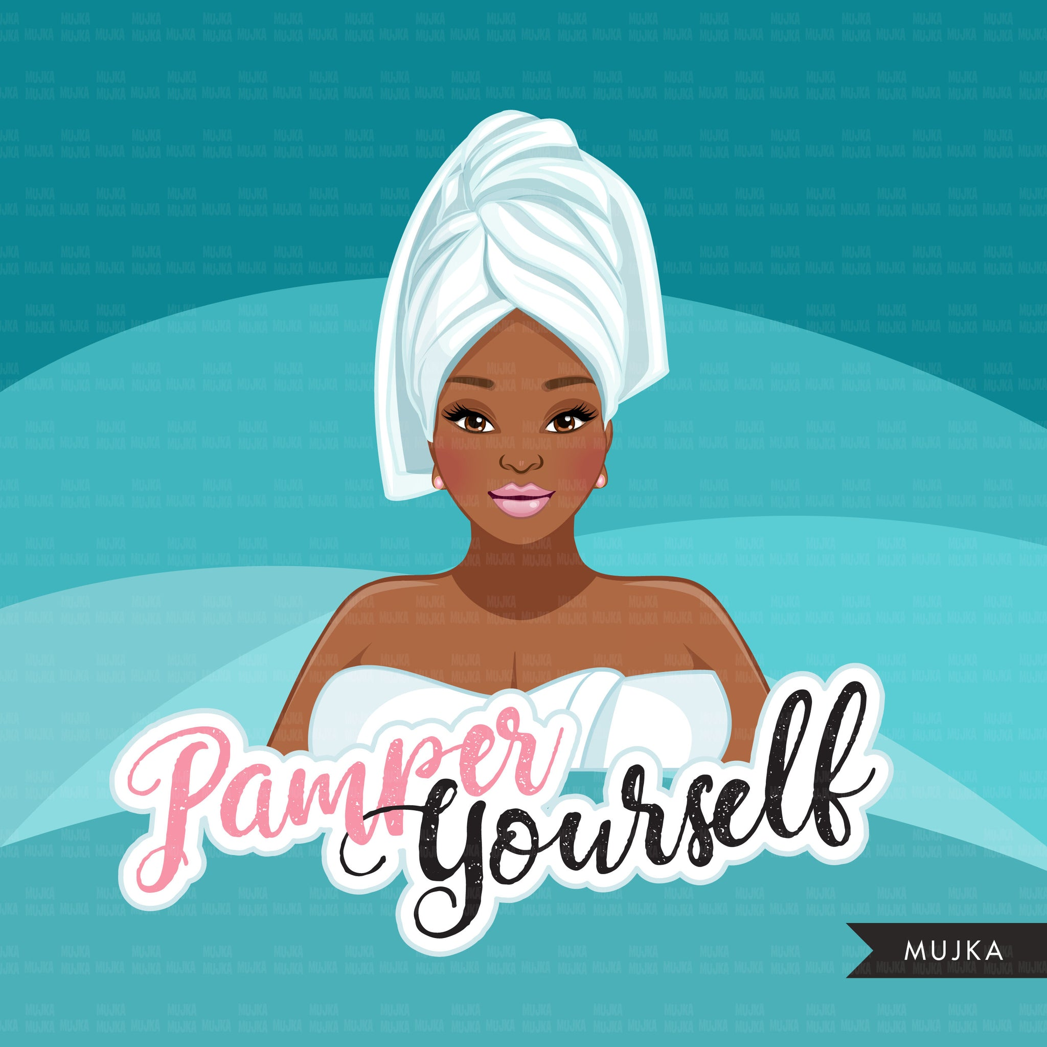 Spa Clipart, self care graphics, spa fashion black woman, sisters, friends, Sublimation designs for Cricut & Cameo, commercial use PNG