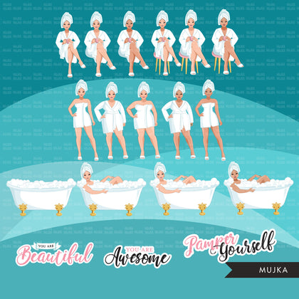Spa Clipart, bath, self care graphics, spa fashion woman, sisters, friends, Sublimation designs for Cricut & Cameo, commercial use PNG