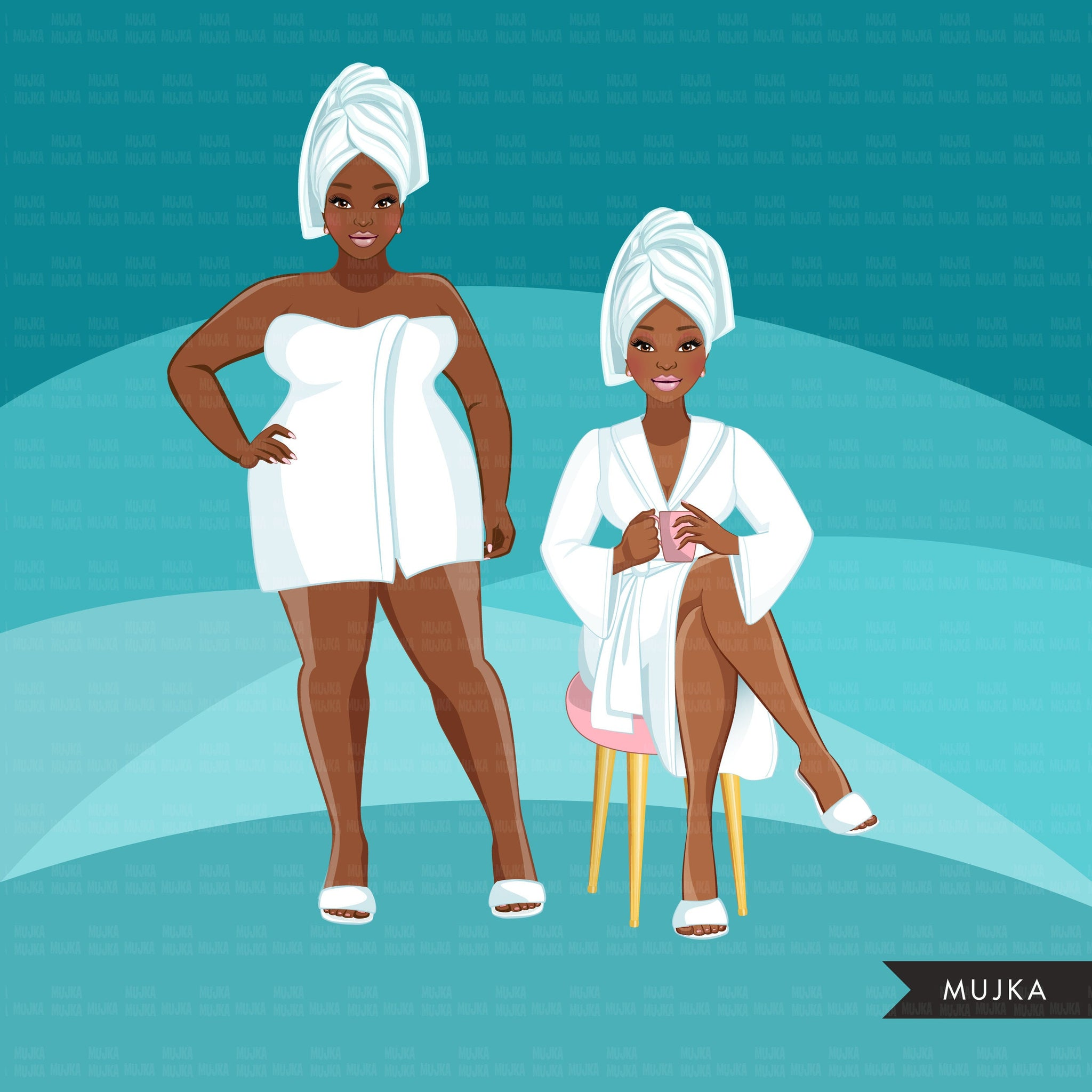 Spa Clipart, bath, self care graphics, spa fashion black woman, sisters, friends, Sublimation designs for Cricut & Cameo, commercial use PNG