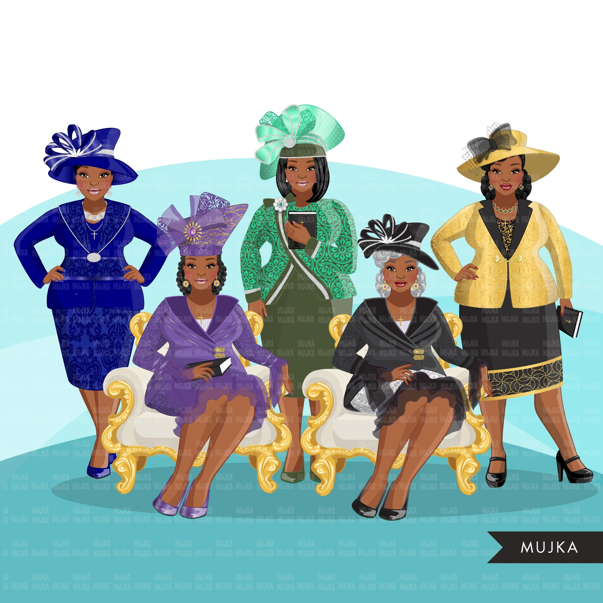 Fashion Clipart, Church ladies, curvy Black woman graphics, religious sisters, Sublimation designs for Cricut & Cameo, commercial use PNG