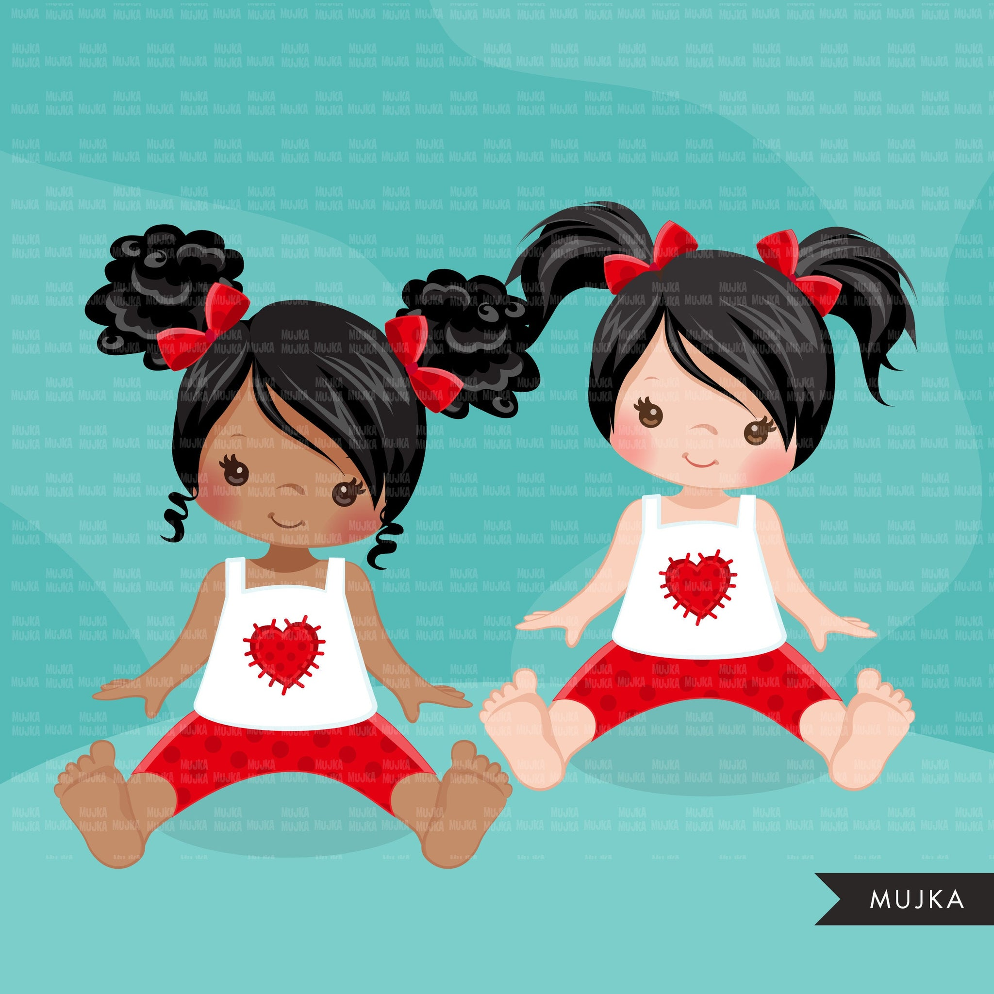 Valentine Clipart, little girls bundle, sisters, friends sublimation, Valentine's Day gifts, commercial use graphics, png clip art