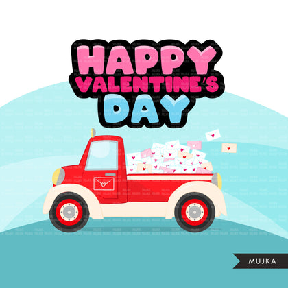 Drive-by Valentine's Day Party parade clipart, quarantine party, drive thru party truck, hearts, valentine gifts PNG clip art