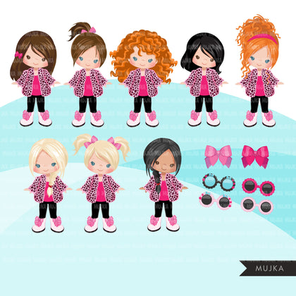 Fashion little girl clipart with pink leopard jacket, boots, sunglasses, birthday clipart, digital PNG