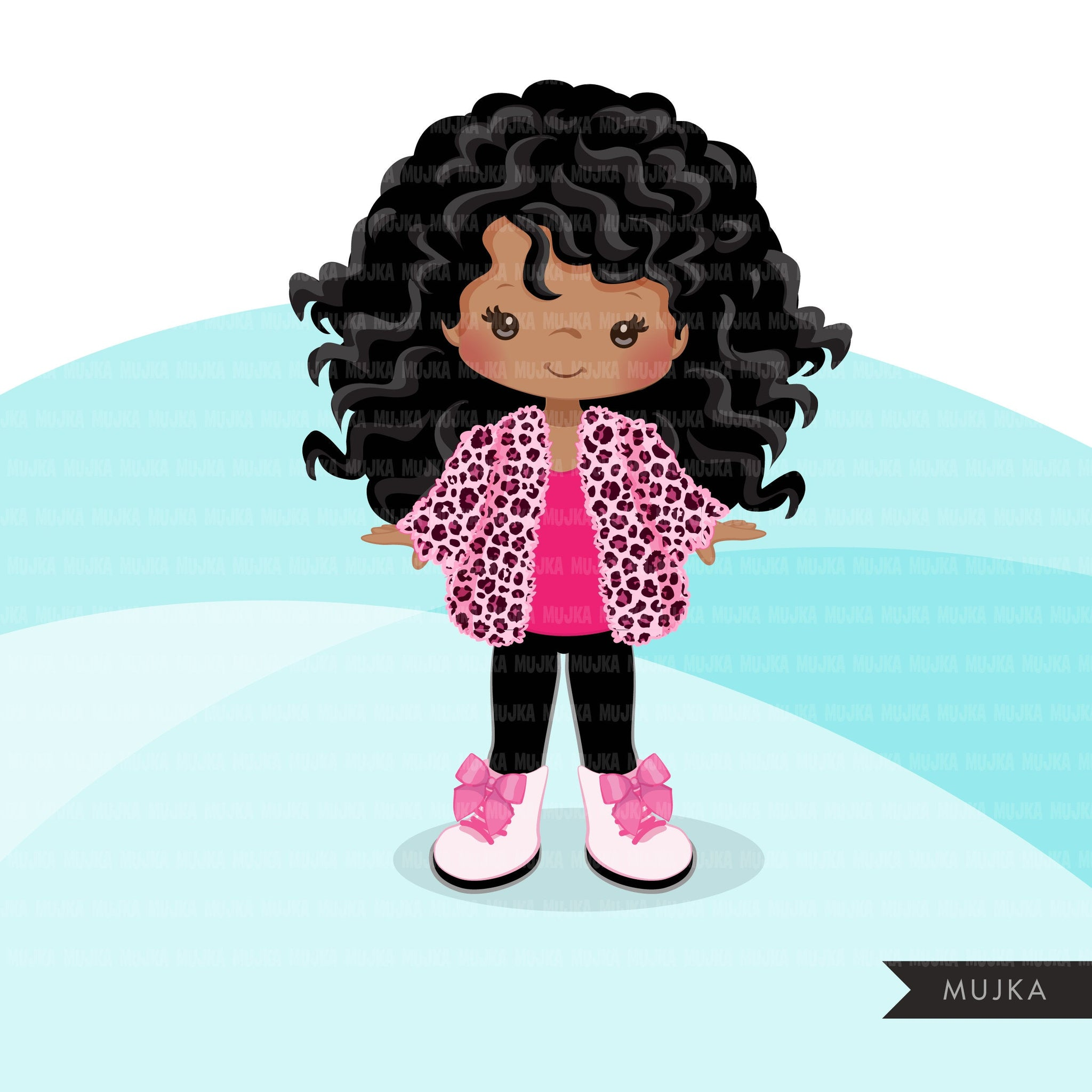 Fashion little black girl clipart with pink leopard jacket, boots, sunglasses, birthday clipart, digital PNG