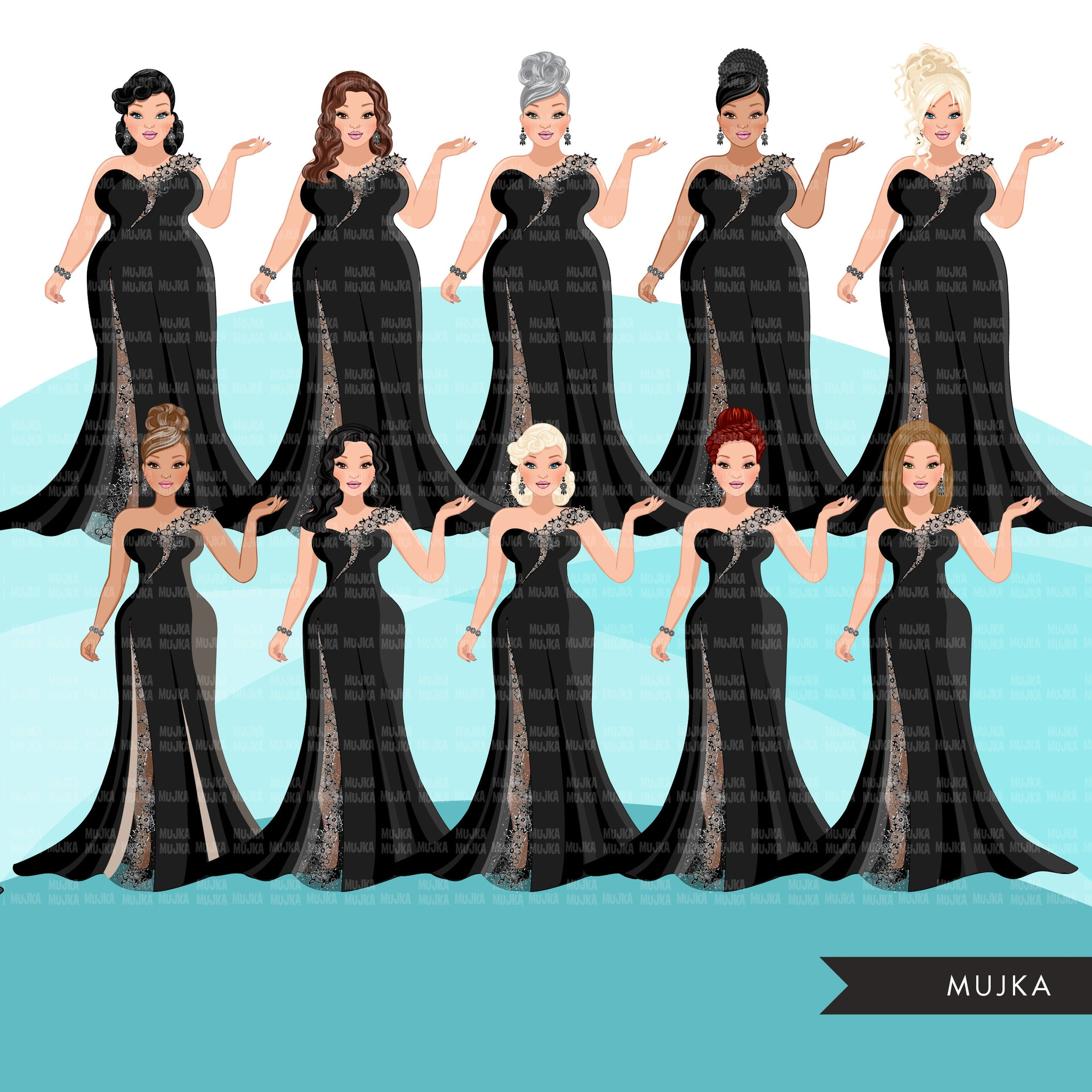 Fashion Clipart, woman black lace, evening gown, sisters, friends, Sublimation designs for Cricut & Cameo, commercial use PNG