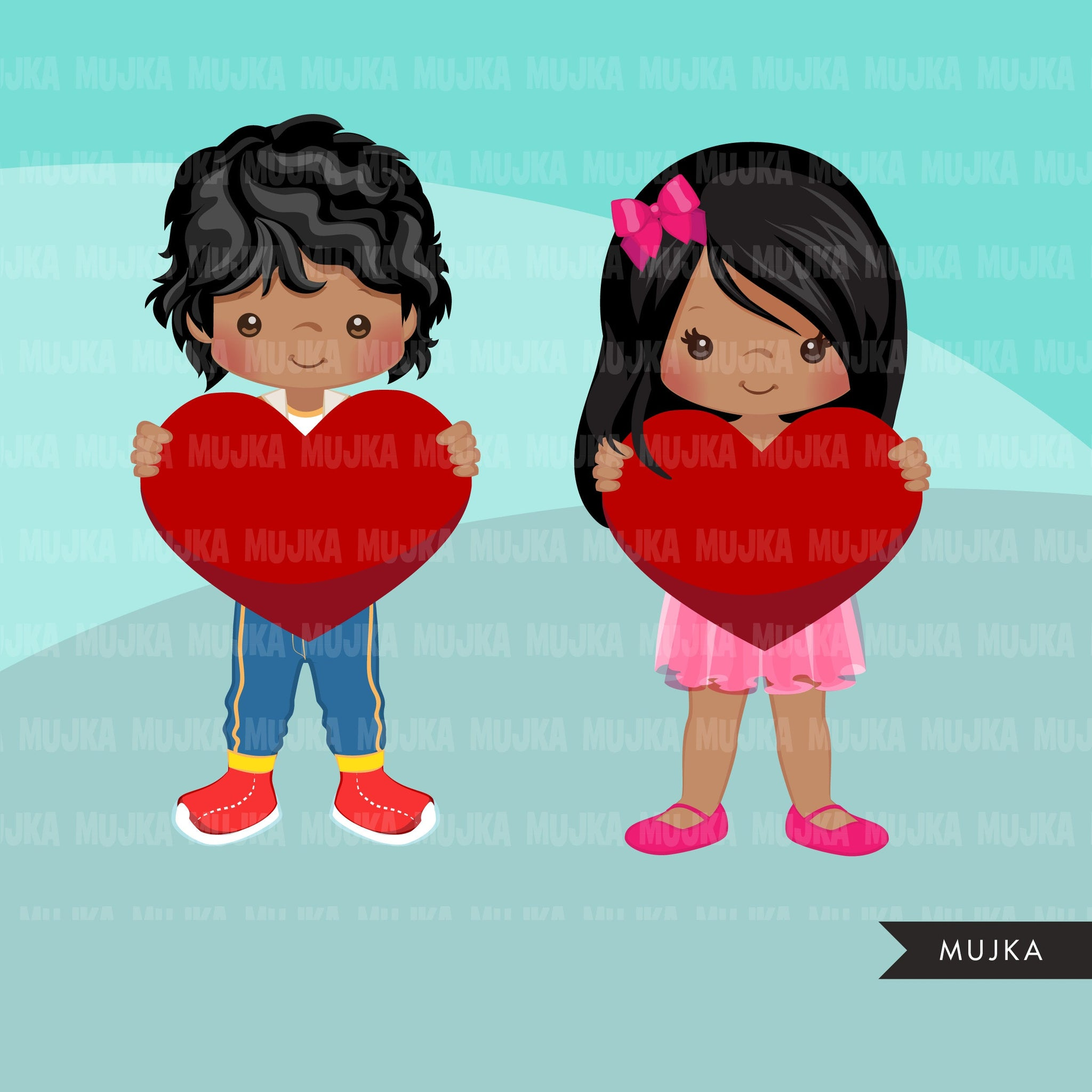 Valentine Clipart, Valentine kids BUNDLE, Valentine's Day boys, girls holding heart, commercial use graphics, png clip art
