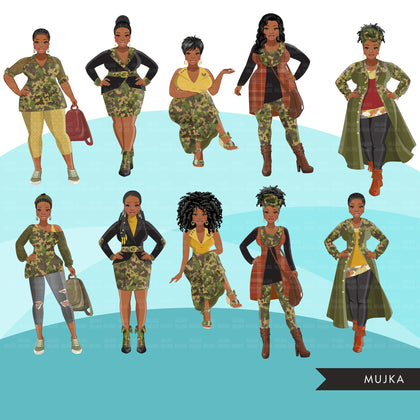 Fashion Clipart, Black woman, CAMO fashion, military sisters, friends, Sublimation designs for Cricut & Cameo, commercial use PNG