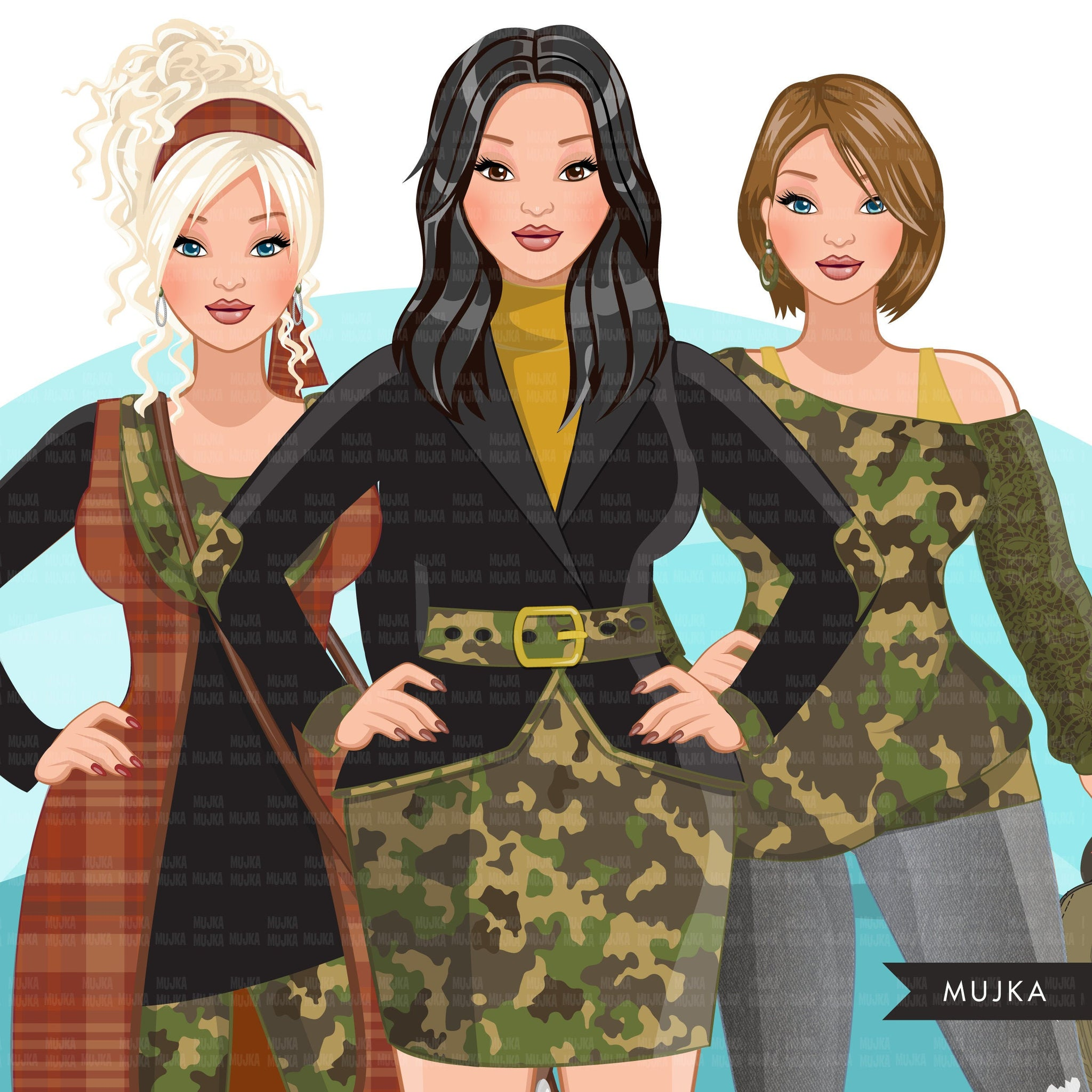 Fashion Clipart, woman, CAMO fashion, military wife, military sisters, friends, Sublimation designs for Cricut & Cameo, commercial use PNG